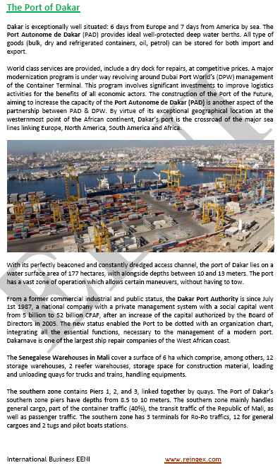 Logistics Course: Port of Dakar (Senegal)